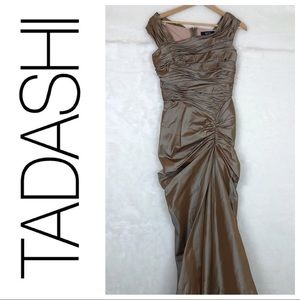 Tadashi brown iridescent gold ruched taffeta gown